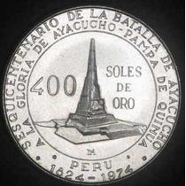 Peru 1976 Moneda De Plata Batalla De Ayacucho 400 Soles
