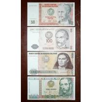 Set 4 Billetes De Intis 50 100 500 1000 Perú Lote 1987 1988