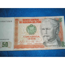 Peru Billete Antiguo 50 Intis - 03 De Abril 1985