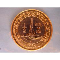 Moneda 1/2 Sol De Oro Batalla Ayacucho Peru Año 1976 Escasa