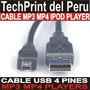 Cable Usb 4 Pines Mp3 Mp4 Camaras Ipod Celular