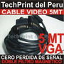 Cable Video Vga 5 Metros Con Filtros Original Doble Malla