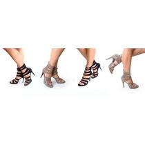 Zapatos Negros Cuero Gamuza Milano Bags De Tiras