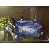 Zapatos De Cuero Milano Bags Color Azul