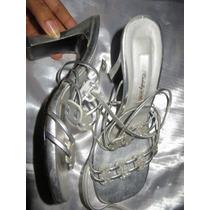 Zapatos Plateados De Fiesta Usados Talla 37 Taco 9