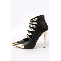 Zapatos Altos En Punta Taco Dorado Negro 8.5 38.5 39 Stock