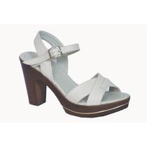 Sandalias Mujer Color Blanco Hueso - Zapatos Con Taco