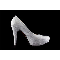 Zapato De Fiesta Plateado Plataforma, Calzado Dama.