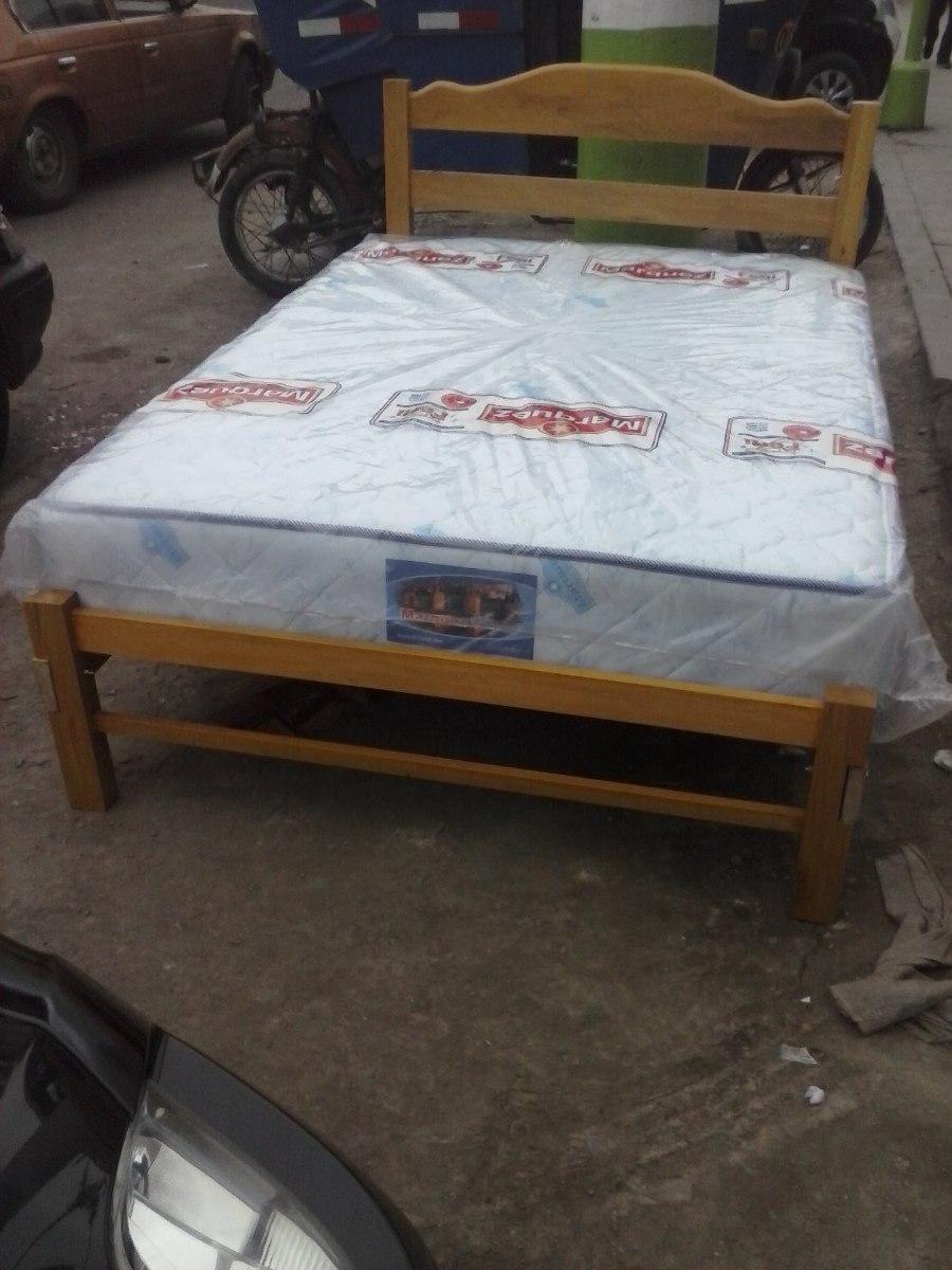 Cama de madera capirona colch n de 2 plazas ortop dico for Tipos de camas de 2plazas