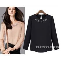 Blusa Elegante Negra Con Collar Cristales Talla M En Stock