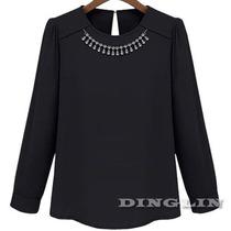 Blusa Elegante Con Collar De Cristales Talla M En Stock
