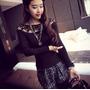 Blusa Importada Estilo Coreano Color Negro Con Encaje