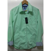 Tommy Hilfiger Blusa Verde Vestir Oficina Dama Mujer Talla M