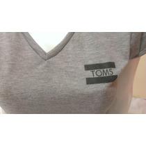 Toms Polo Dama Mujer Cuello V M/c Gris