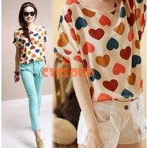 Blusa Corazones Moda Koreana Coreana Importado Hot Asiatica
