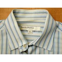 Camisa Gemelos Perry Ellis Algodón Talla L Slim 16 1/2 34-35