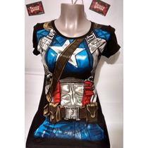 Polo Modelo Capitan America Girl Con Cinturon ( Viscosa Con