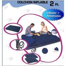 Colchón Inflable De 2 Plazas + 1 Inflador + 2 Almohadas