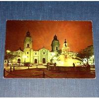 Postal Vista Nocturna Plaza De Armas Catedral Fuente Lima