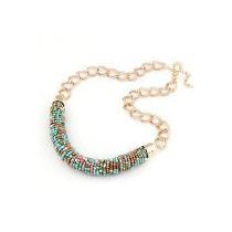 Elegante Collar Dorado Con Dijes Coloridos No Avon, Esika