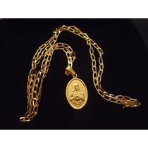 Cadena De Oro Amarillo De 18k Corazon De Jesus