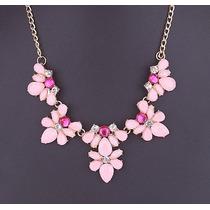 Maxi Collar Flores Colores Pasteles Importado Nuevo En Stock