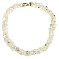Collar Grueso De Perlas Y Oro 18k Con Broche
