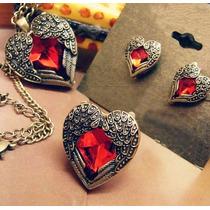 Neko Lucky Accesorios -set Corazon (anillo, Aretes, Collar)