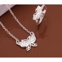 Collar Y Anillo De Plata 925 Con Diseño De Mariposa