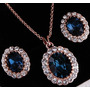 Juego Set Collar + Aretes Baño Oro 18k Cristales Con Estuche