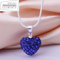 Collar Swarovski Crystal Corazon Azul Cadena Plata 925