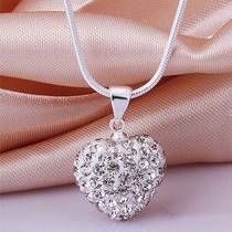 Collar Swarovski Crystal Corazon Blanco Cadena Plata 925