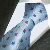 Corbata De Seda Ploma Con Puntitos Blanco Azul - M-002