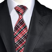Bellisima Corbata De Seda Negra Con Rayas Rojiblanca ,m-0045
