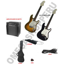 Guitarra Electrica Pack Amplificador Funda Correa Cable Uña!