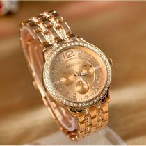 Reloj Geneva Oro Rosa Y Oro Amarillo