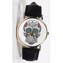 Reloj Casual Mujer De Cuero Calavera Colores Vestido Moderno