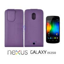 Funda Cuero Morado Para Samsung Galaxy Nexus I9250 Protector