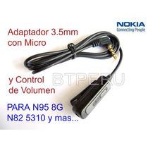 Adaptador Handsfree Nokia N95 8gb N81 N82 5310 Micro Volumen