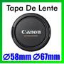 Tapa Frontal De Lente 58mm 67mm Logp Canon 18-55 18-135