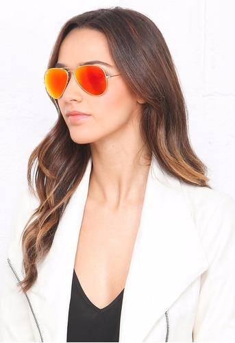 ray ban aviator lente rojo