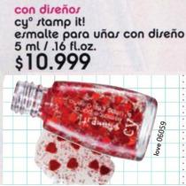 Cyzone Esmalte Stamp It Diseño Glitter Con Corazones Rojos