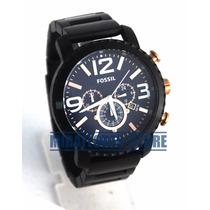 Reloj Fossil Bq2011 Acero Negro Dial Azul Para Caballero
