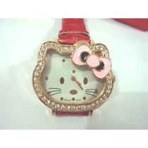 Reloj Hello Kitty Mujer Correa Rojo Fresa Con Strass Pulsera