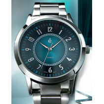 Reloj Hombre Luxus Azul Turquesa Con Correa Plateada Esika