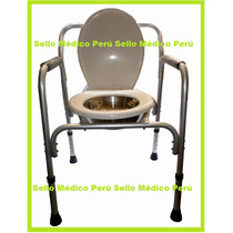 Silla Inodoro Baño Portatil P/ Pacientes Regulable Aluminio