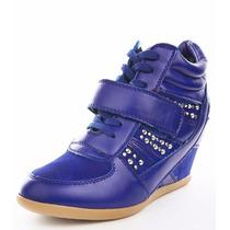 Zapatillas Sneakers Azul Taco Tachas Importado 7 37 Pedido