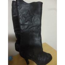 Botas Negras De Cuero- Talla 36