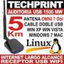 Usb Wifi 1500 Mw 5 Km Auditoria Windows Internet Omni 7 Dbi