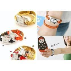 Reloj Pulsera Tejida Doble Vuelta Para Damas Moda 2012